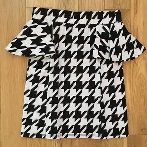 Nasty Gal Black & White Houndstooth Skirt